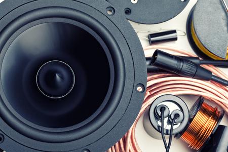 closeup of crossover speaker part Stock Photo