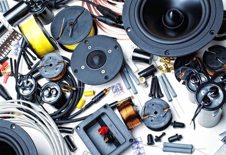 screw jack: closeup image of electronic component speaker Stock Photo