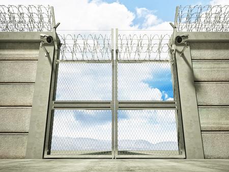 かみそりワイヤーでセキュリティ国境線ゲートの 3 d 画像 写真素材 - 44992509