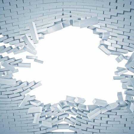 pared rota: Imagen en 3D de la pared blanca de ladrillo roto