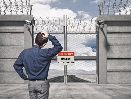 keepout: 3d image of security border line gate with razor wire