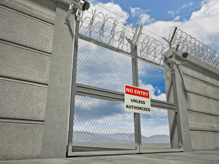 the borderline: 3d image of security border line gate with razor wire