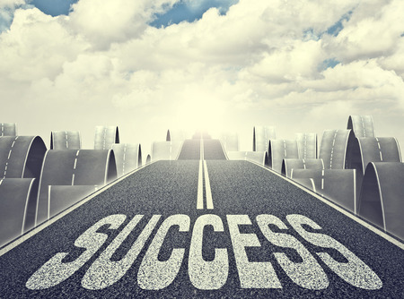 improving: 3d image of long asphalt way and success word Stock Photo