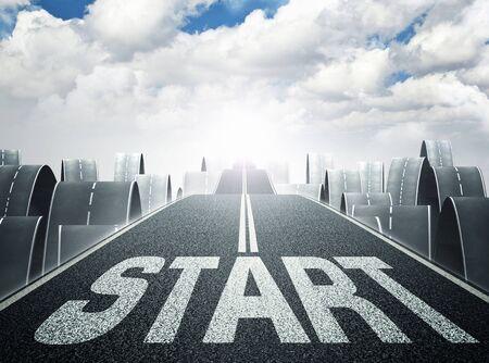 a way: 3d image of long asphalt way and start text Stock Photo