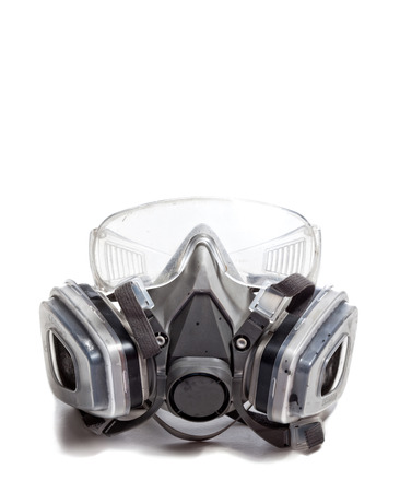 white mask: gas mask and googles on white background