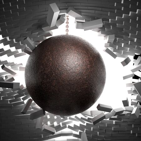 chain ball: 3d image of huge ball and chain