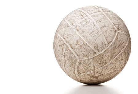 Volley: used volley ball isolated on white Stock Photo