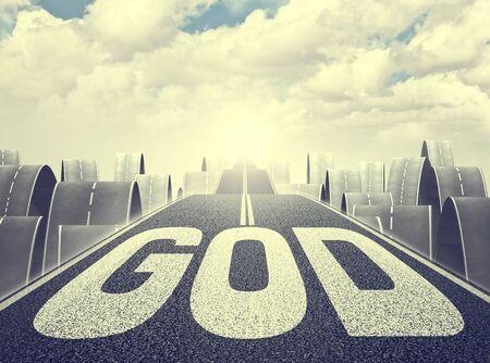 tar: 3d image of long asphalt way and god text Stock Photo