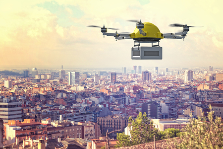 delivery: delivery 3d drone and town background