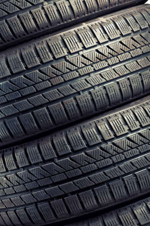 used: detail of used winter tyre Stock Photo