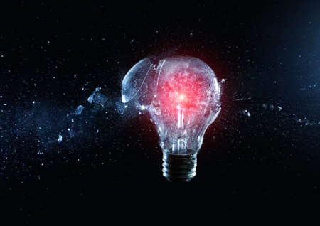 electric bulb: close up image of electric bulb explosion