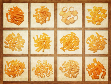 kind: food background different kind of italian pasta Stock Photo