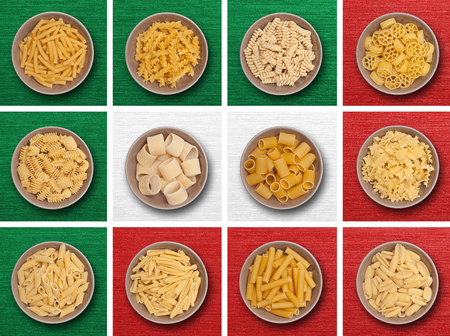 kind of: food background different kind of italian pasta Stock Photo