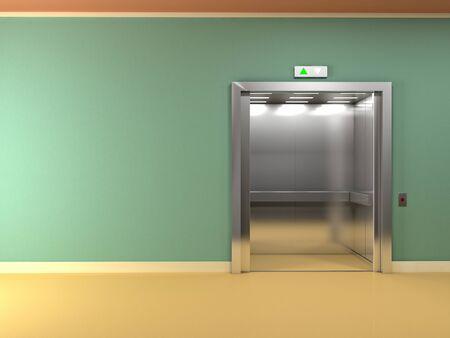 open doors: 3d image of classic elevator open doors