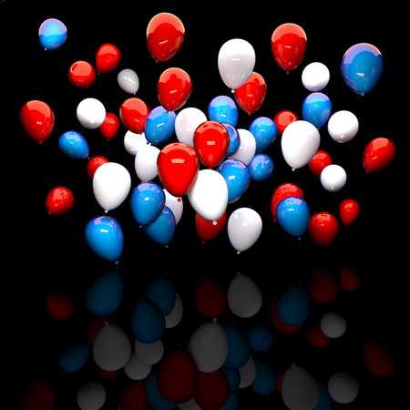 red and white: 3d balloon red white blue Stock Photo