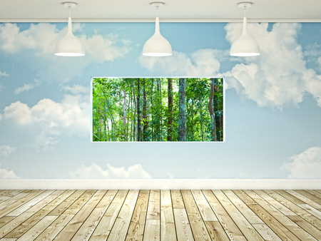 freedom concept: 3d abstract interior with clouds wall and window Stock Photo