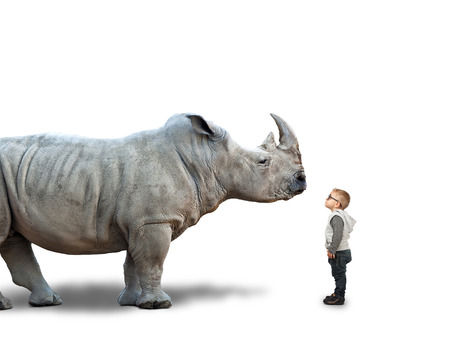 little child and huge rhino on white Stock Photo - 48598976
