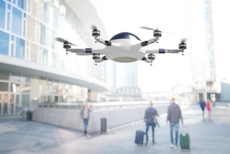 adn: moderna 3d drone ciudad adn fondo Foto de archivo