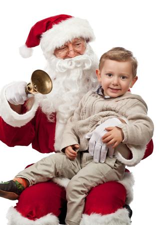 papa noel: Pap� Noel y ni�o feliz Foto de archivo
