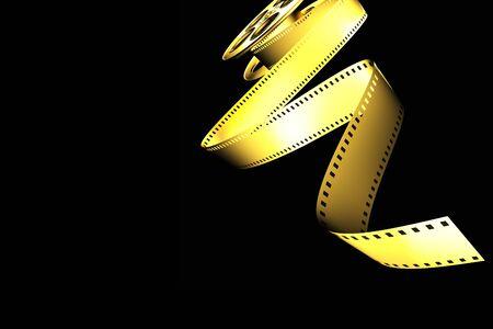 videomaker: golden classic cinema film roll Stock Photo