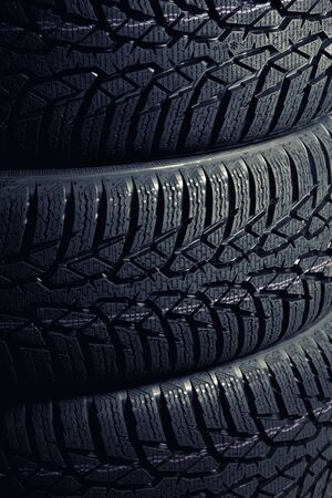 winter tyre: detail of used winter tyre Stock Photo