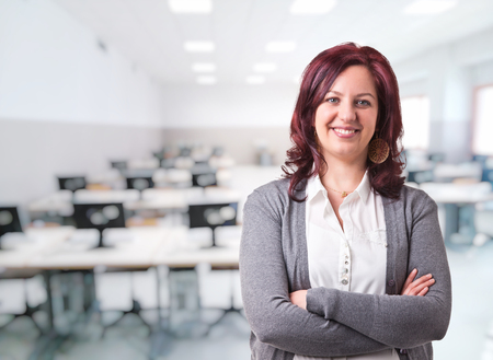woman teacher portrait and class background