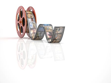 videomaker: render of classic cinema film roll with animal Stock Photo
