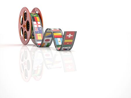 videomaker: render of classic cinema film roll with flags Stock Photo