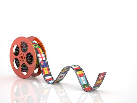 cinema film: render of classic cinema film roll with flags Stock Photo