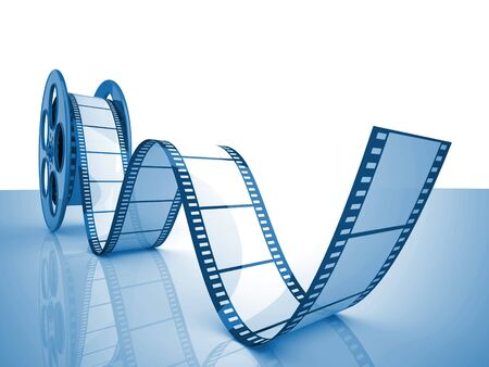 films: render of classic cinema film roll Stock Photo