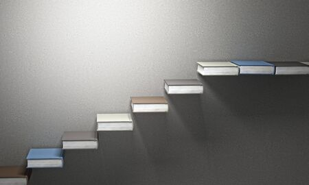 concrete background: 3d books stair and concrete background