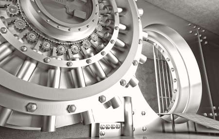 security system: 3d image of huge vault door