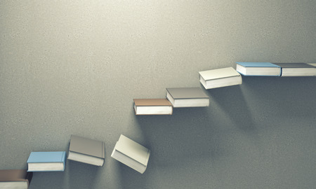 stair: 3d books stair falling down Stock Photo