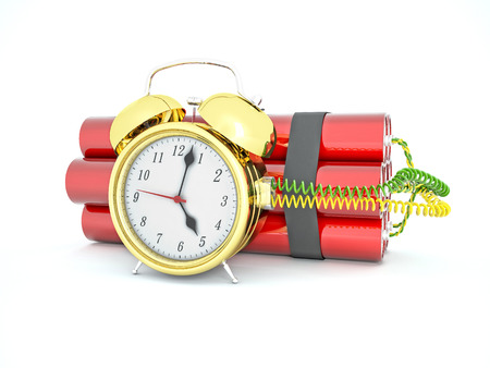 short: 3d time bomb with old clock and tnt Stock Photo