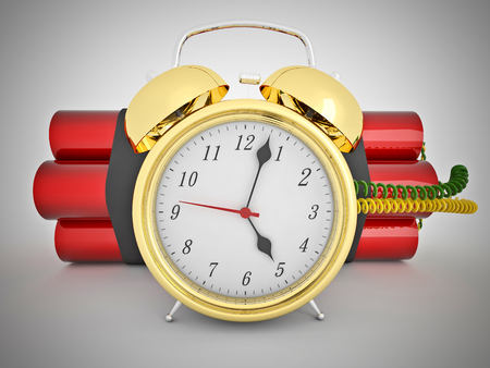 tnt: 3d time bomb with old clock and tnt Stock Photo