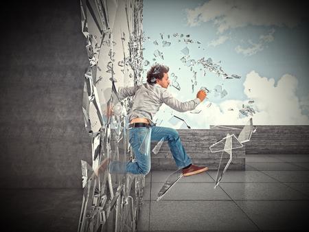 broke: businessman jump and broke glass window