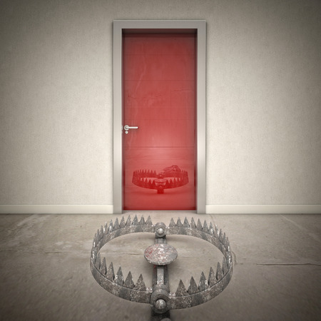 bear trap: 3d red door and bear trap