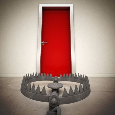 bear trap: red door and metal bear trap Stock Photo