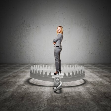 trap: standing woman on 3d bear trap