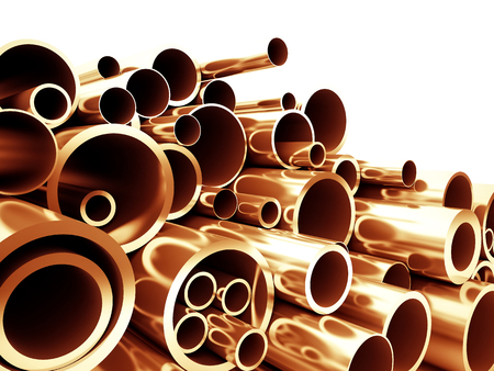 3d: copper metal pipe 3d background