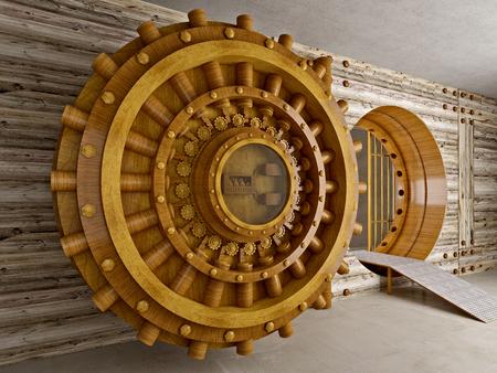 fake houten gewelf 3d achtergrond