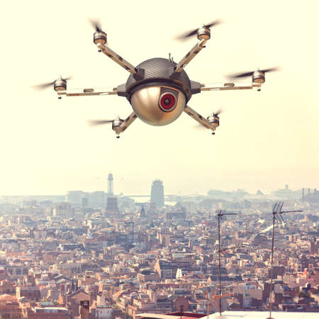 big brother spy: spy drone and urban background Stock Photo