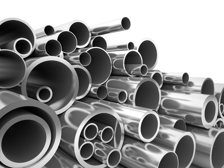 metal steel: 3d metal pipe on white Stock Photo