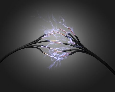 3d electric power cord and spark
