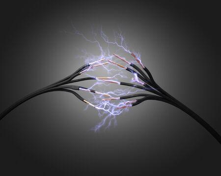 energia electrica: cable de alimentación eléctrica y la chispa 3d Foto de archivo