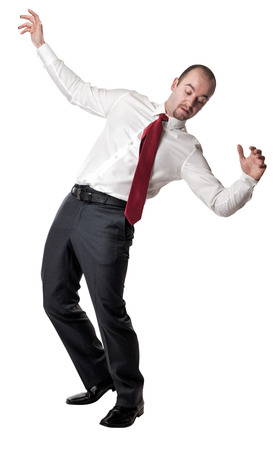 balance: man try to balance himself isolated on white Stock Photo