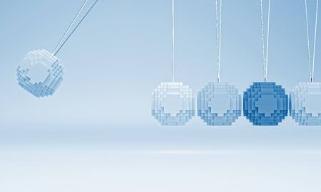 coordinated: 3d image of low poly newton cradle