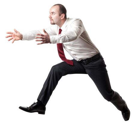 businessman jumping: jumping man isolated on white