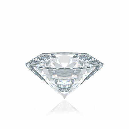 diamante: diamante de corte clásico en el fondo blanco Foto de archivo