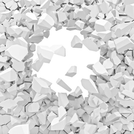 destroy: 3d image of broken white wall